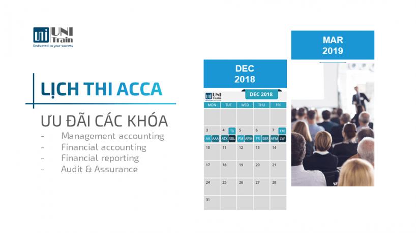 Lịch thi ACCA 12/2018 và Ưu đãi
