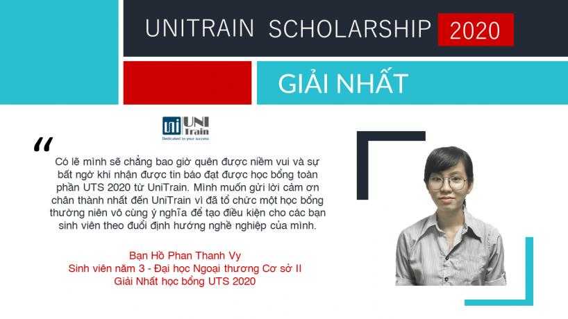 Cảm nhận Giải nhất học bổng UniTrain Scholarship 2020
